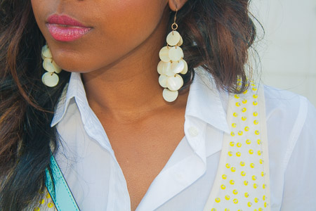 There are about a hundred and one ways to wear a boring white shirt. This is one of my favorite pairings. www.amileinmychoos.com
