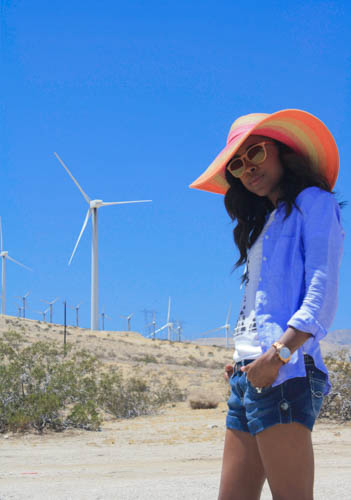 Sunny with a chance of windmills in Palm Springs www.amileinmychoos.com