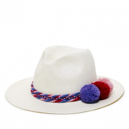 Sole Society's Woven Straw Hat with Poms
