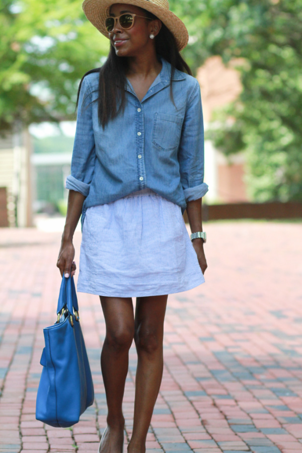 Weekend casual in chambray