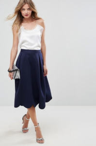 ASOS Scuba Prom Skirt with Scallop Hem