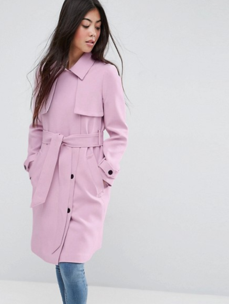 ASOS PETITE Bonded Trench with Contrast Trims