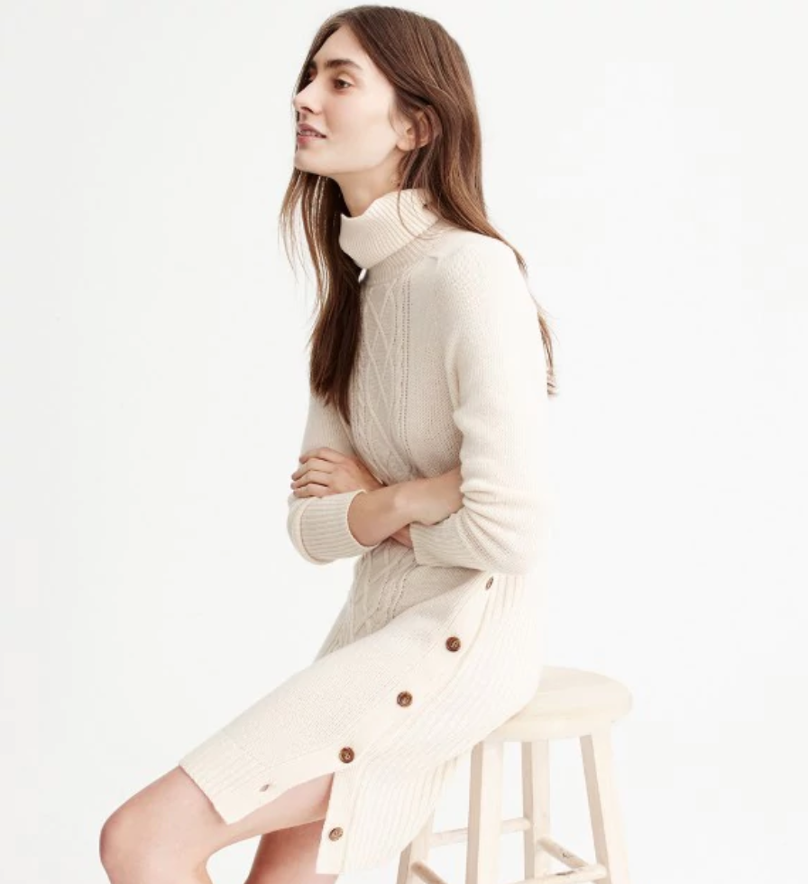 Cable-knit turtleneck sweater-dress